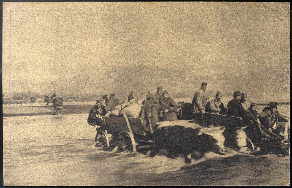 11.Prelazak srpske vojske preko reke Mace u Albaniji s posl.volovskim kolima