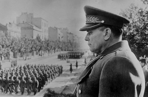 Marshal Tito , Prime Minister and Minister of National Defence of Yugoslavia at a recent military parade in Belgrade 1945, Image: 51057616, License: Rights-managed, Restrictions: , Model Release: no, Credit line: Profimedia, Topfoto