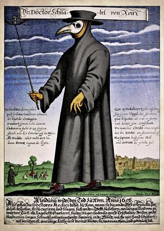 """Доктор за кугу. Упркос општеприхваћеном уверењу, ова минијатура не потиче из времена """"црне смрти"""", већ је из 17. века"""
